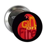 "Girl On Fire Flame 2.25"" Button"
