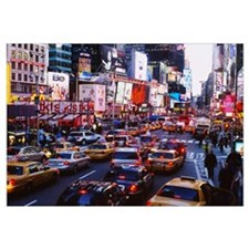 Traffic on a road in a city, Times Square, Manhatt