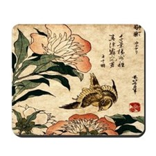 Bird Feeding on Flowers Mousepad