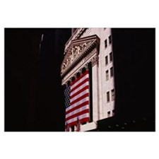 Low angle view of an American flag on a financial