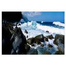 Waves breaking rocks at the coast, Na Pali Coast,