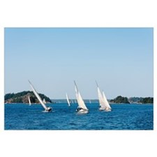 Sailboats in the sea, Stockholm Archipelago, Stock