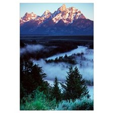 Mist over Snake River, sunrise light, Grand Teton