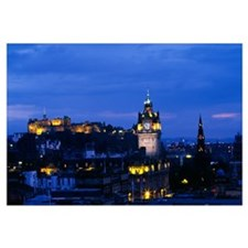 City skyline illuminated at night, Edinburgh, Scot