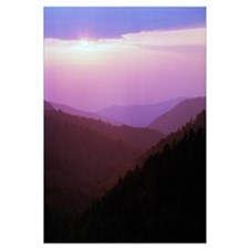 View of misty Smoky Mountains from overlook, sunse