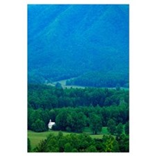 High angle view of misty Cades Cove with church, G