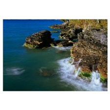 High angle view of rocky shoreline cliffs, Lake Mi
