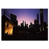 Stage lit up at night, Grant Park, Chicago, Illino