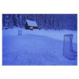 Hockey net on a snowcapped landscape, Lake Louise,