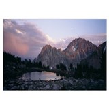 Mountains overlooking a lake, Sawtooth Mountains,