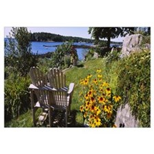 Two adirondack chairs in a garden, Peaks Island, C