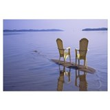 Reflection of two adirondack chairs in a lake, Lak