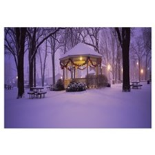 Gazebo covered with snow in a park, Rochester, Olm