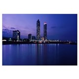 Buildings lit up at the waterfront, Torre Mapfre,