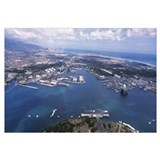 Aerial view of a harbor, Pearl Harbor, Honolulu, O