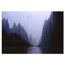 River passing through a hill range, Guilin Hills,