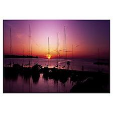 Silhouette of boats in the sea, Egg Harbor, Door C