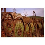Old barn with a fence made of wheels, Palouse, Whi