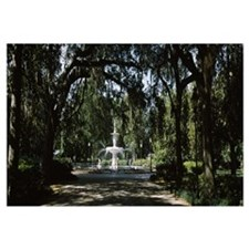 Fountain in a park, Forsyth Park, Savannah, Chatha