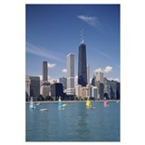 Sailboats in a lake, Lake Michigan, Chicago, Cook