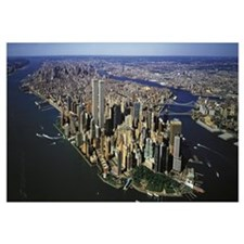 Manhattan from air with World Trade Center towers,