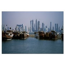 Harbor with skylines in the background Dhow Harbou