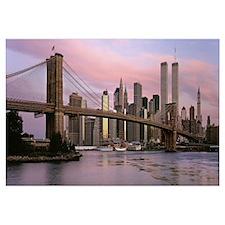 Bridge across a river, Brooklyn Bridge, Manhattan,