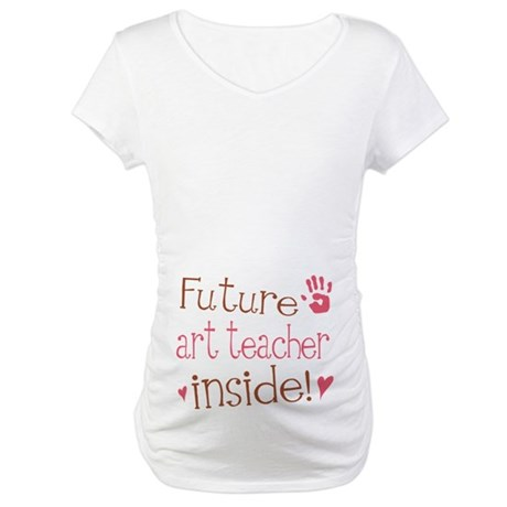 Future Art Teacher Pink Maternity T-Shirt