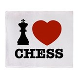 I love Chess Throw Blanket