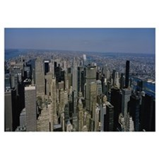 Aerial view of skyscrapers in a city, Manhattan, N