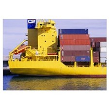 Yellow Container Ship