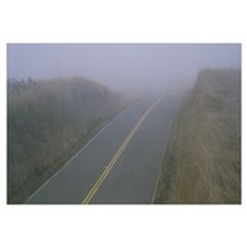 Fog over a two lane highway, Marin County, Califor
