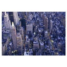 Aerial view of buildings in a city, Manhattan, New