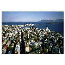 High angle view of a city, Reykjavik, Iceland