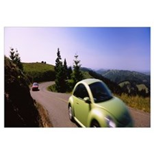 Two cars on a road, Mt Tamalpais, Marin County, Ca