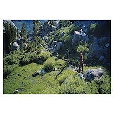 Hikers walking on mountains, Ansel Adams Wildernes