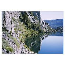 Reflection of rocks in a lake, Thousand Island Lak
