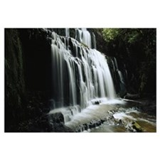 Waterfall in a forest, Purakaunui Falls, The Catli