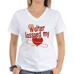 Walter Lassoed My Heart Women's V-Neck T-Shirt