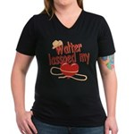 Walter Lassoed My Heart Women's V-Neck Dark T-Shir