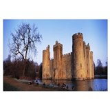 Moat around a castle, Bodiam Castle, East Sussex,