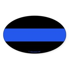 Thin Blue Line Policeman Oval Decal