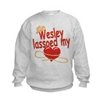 Wesley Lassoed My Heart Kids Sweatshirt