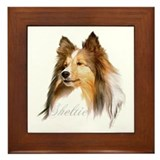 Sheltie Head-Retro Framed Tile