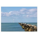 Jetty with boats in the background, Jetties Beach,