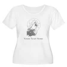 Wolf and Moon. Custom Text. T-Shirt