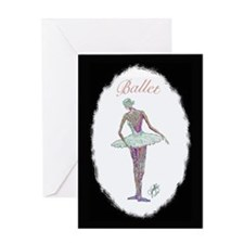Ballet Ballerina in Oval Greeting Card
