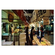 Customers buying fish in a fish market, Tsukiji Fi