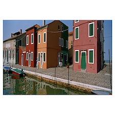 Houses along a canal, Burano, Venice, Veneto, Ital