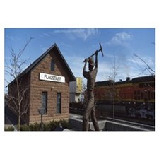 Statue in front of a railroad depot, Flagstaff, Co